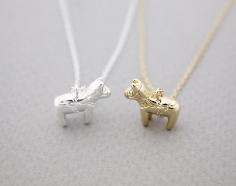 Dala HORSE Charm Necklace  in silver/ gold, N0924G