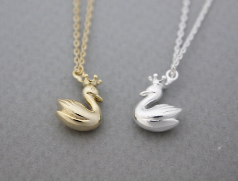 Tiny Swan Charm Necklace in gold / silver, N0954G