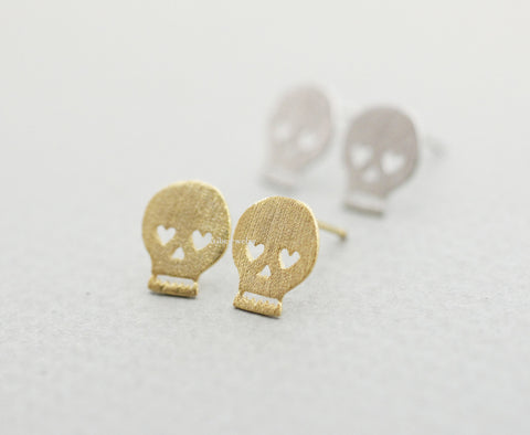 Skull Heart eyes stud Earrings in 2 colors, E0853G (925 sterling silver/plated over Brass)