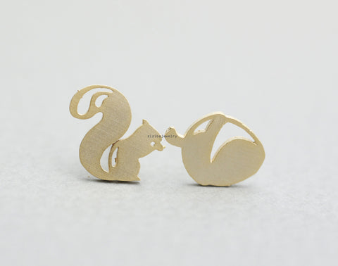 Forest Squirrel and Acorn Earrings in silver / gold, E0831S