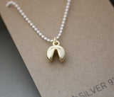 925 Sterling Silver Fortune Cookie Necklace,Fortune Cookie Pendant 2 tone necklace