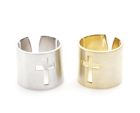 Stacking Wide and Thick Cross Cut- Out Band Cuff ring, tube ring, knuckle ring in 2 colors