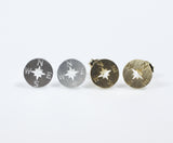 Compass stud earrings in 2 colors
