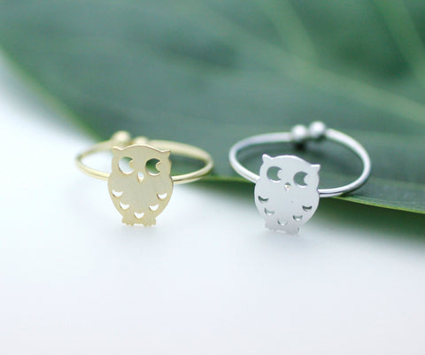 Owl Adjustable Ring in Silver / Gold, R0029G