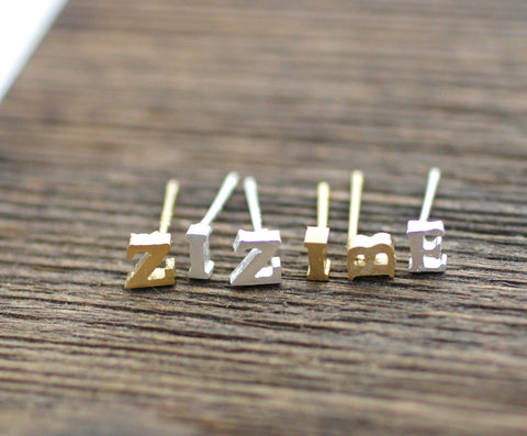 Initial Stud Earrings A-Z / choose your color and initia, E0033G