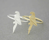Origami Parrot adjustable Ring  in gold / silver, R0507G