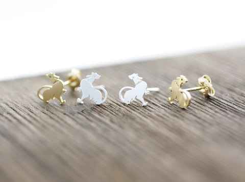 Rooster stud, chicken earrings in 2 colors, E0067G