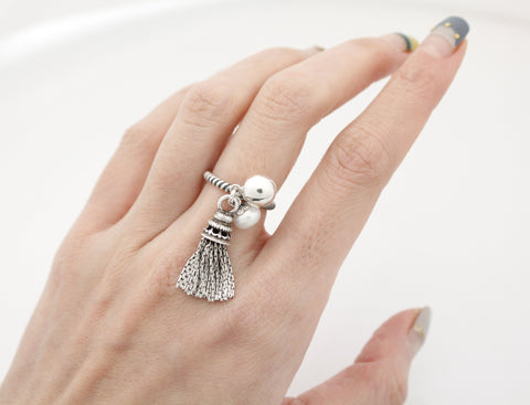 925 Sterling Silver Tassel and Fresh Water Pearl, Silver ball dangle Ring, R0926S