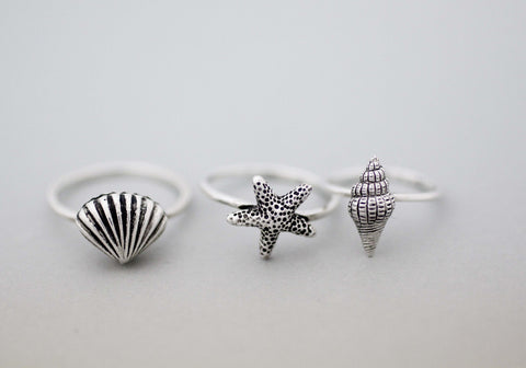 925 Sterling Silver Scallop, Starfish and Trumpet shell Ring, Summer ring, Summer jewelry, Beach jewelry