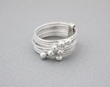 925 Sterling Silver Multi Layered Silver balls Ring, 7 stacking rings, R0933S