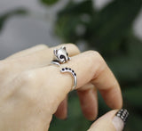 Cute Baby Kitty Cat with cubic tail Adjustable Wrap Ring, R0268S