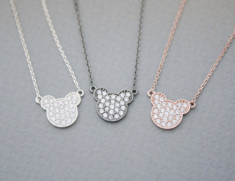 925 Sterling Silver Mickey Mouse Face Necklace detailed with CZ in 4 colors