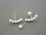 Front and Back Pearls Post Earrings, Pearl  cuff earrings, Pearls Ear Jackets. Pearl Ear Jacket