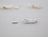 Square Cubic Zig Zag Bar unbalance ear climers ,Tiny Bars Ear pin ,Bar Ear Crawler, Staple earrings