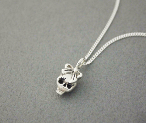 925 sterling silver skull with Big ribbon Pendant Necklace, N0519S