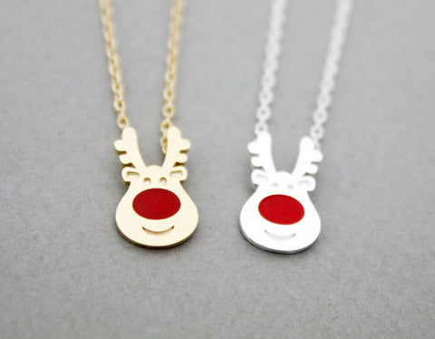 Rudolph the Red Nose Reindeer pendant necklace in 2 colors, N0932G