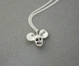 925 sterling silver Tiny skull head with Mickey mouse ears Pendant Necklace, N0518S