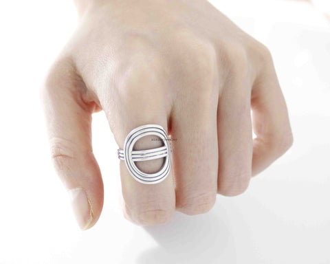 925 Sterling Silver Circle Stacking Ring,Round buckle Ring, Gometric ring, R0523S