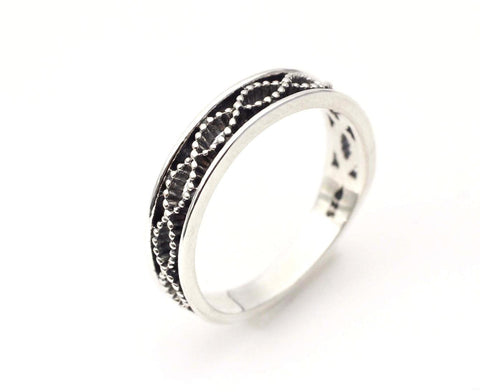 925 Sterling Silver Twisted Helix Pattern Infinity Ring-2