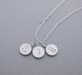 925 sterling silver Personalized tiny Initial disk pendant detailed with CZ Necklace A-Z / choose your color and initial, N0938S