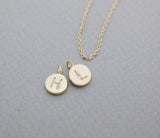Personalized tiny Initial disk pendant detailed with CZ Necklace A-Z / choose your color and initial, N0938S