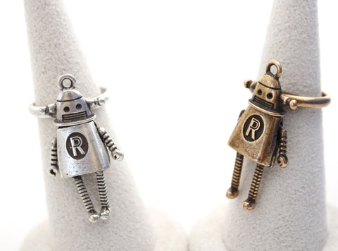 cute and unique Robot statement Ring in 2 colors, R0276S