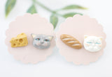 Persian Cat and Baguette Bread, Cheese statement stud earrings, Cat earrings