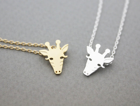 Cute Giraffe Face pendant necklace in silver/ gold, N0944G