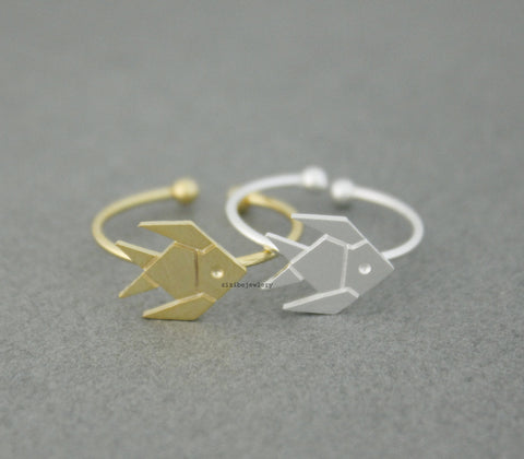 Cute Origami Tropical Fish, Gold Fish adjustable Ring  in 2 colors, R0539G