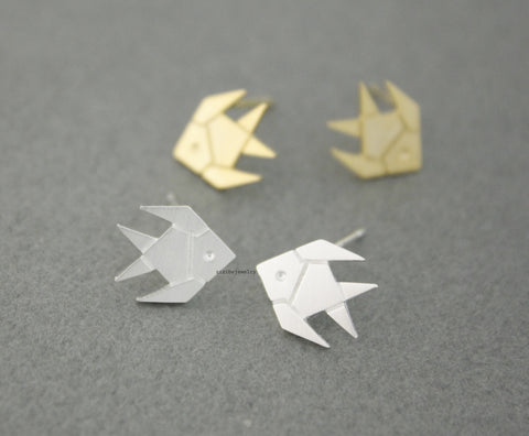 Cute Origami Tropical Fish, Gold Fish stud Earrings in 2 colors, E0538G