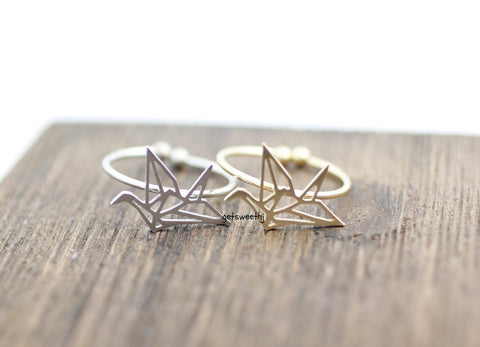 Origami Crane adjustable ring in gold / silver, R0054G