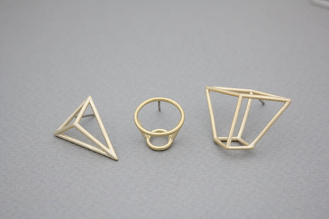Geometric 3D figure cylinder, pyramid ,cube box earrings in 2 colors, E0974S