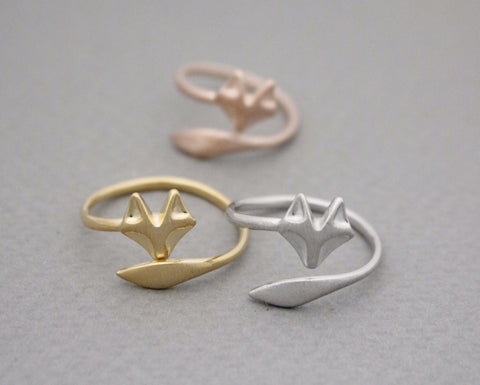 Fox Tail Adjustable Ring in 3 colors (925 sterling silver / plated over Brass)