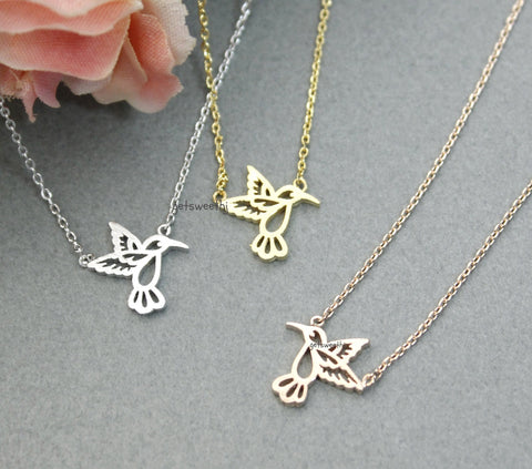 Hummingbird pendant necklace in 3 colors, N0287K