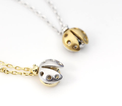 Lady Bug charm pendant  necklace in 2 colors