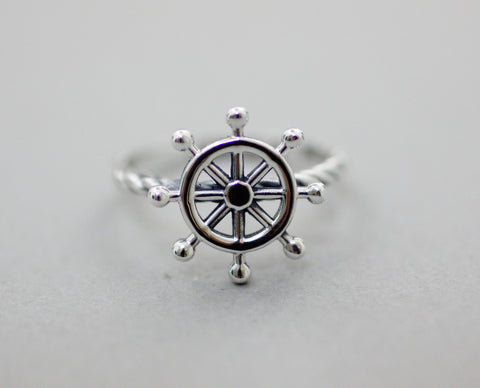 925 sterling silver Ship Wheel Statement ring, Nautical Ring , Sailor ring, Wheel Helm Ring