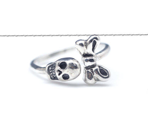 925 sterling silver Tiny skull with ribbon ring,R0911S