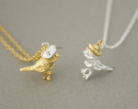 Little Sparrow on hat pendant Necklace in gold /silver, N0726G
