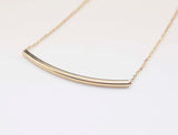 Curved Long bar necklace in gold / silver (925 sterling silver/plated over Brass)