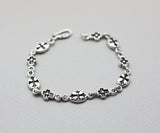 925 Sterling silver Antique Cross Charm chain bracelet, B0860S