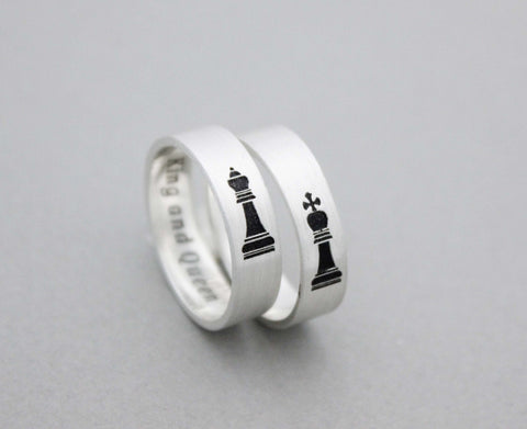 925 sterling silver Queen and King Chess Ring ,Couple Rings,Custom Personalized Initial Ring