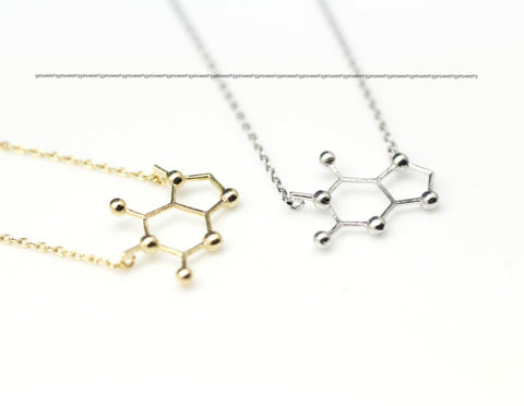 Caffeine Molecule Necklace in Gold / Silver