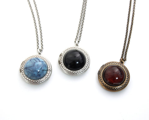 Antique style Gemstone Locket Necklace with floral pattern, N0312S