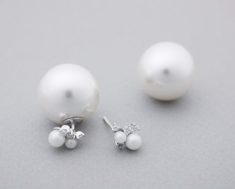 Front and Back Double Pearl Ear Jackets ,cubic and pearl ear jacket 18 mm pearl earrings,E0982S
