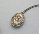 Antique style Oval Locket Necklace, N0309S
