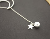 925 sterling silver Open Crescent moon and Twinkle Star and silver ball  Lariat Necklace