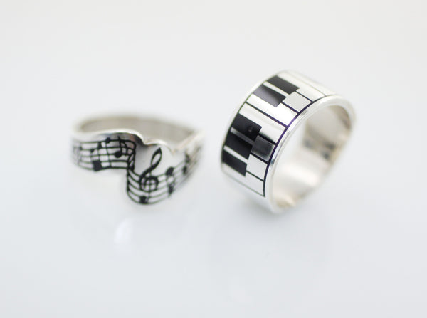 925 Sterling Silver Piano Keyboard Statement Ring 348771273fde
