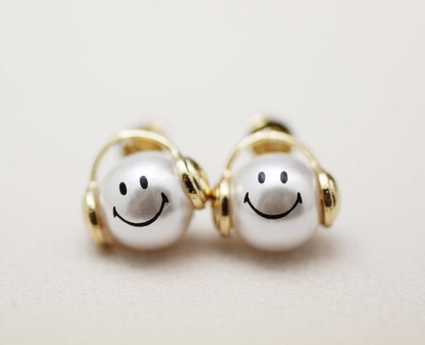 Music is my life smile man post earrings in 2 colors