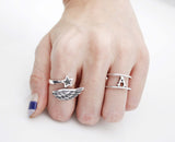 925 Sterling Silver Angel Wing with Star Ring,R0990S