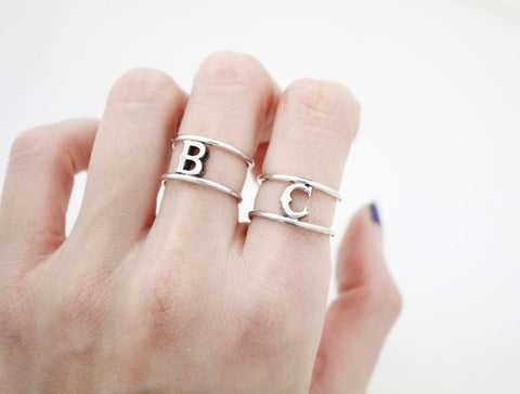 925 sterling silver Antique Initial ring, Letter Ring, Monogram Ring,R0989S
